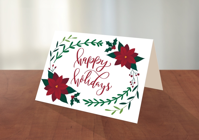 Happy Holidays Poinsettia Card front mockup