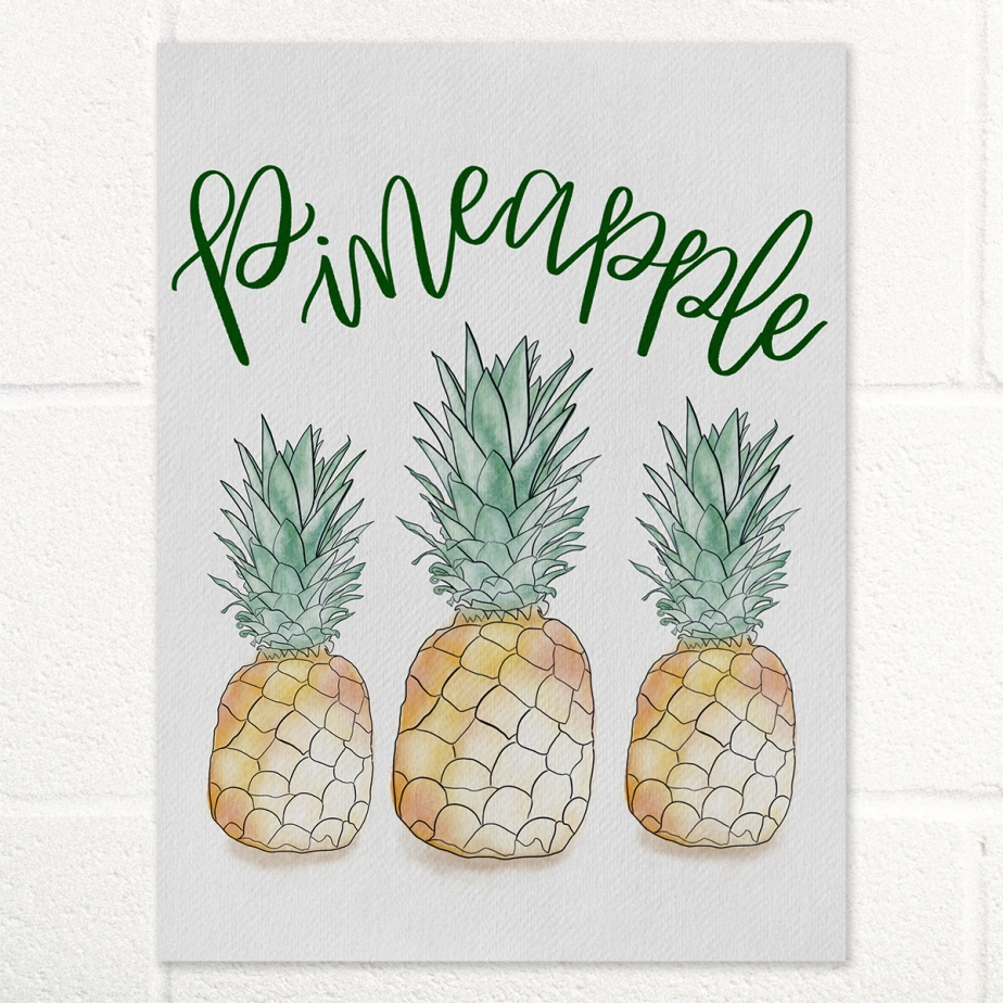 Pineapple Watercolor Hand Lettering Art